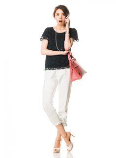 【着まわしday9】レースブラウス×白デニムパンツ   ファッション コーディネート   with online on ウーマンエキサイト