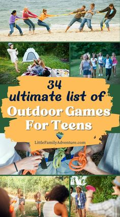 This is the ultimate list of 34 outdoor games to have fun with your friends. If you're looking for a great way to make memories and connect with people, these 34 ideas will get the party started. The best part about these activities is that many don't require any money or equipment at all so you can start planning now! List Of Outdoor Games, Outdoor Games For Teenagers, Outdoor Party Games, Games For Teens, Outdoor Fun, Outdoor Gear, Kids Activities At Home, Outdoor Activities, Activities For Kids
