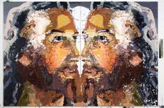 Jesus Rorschach 2008 oil Rorschach and aerosol on linen two panels, 190 x 280 cm overall BEN QUILTY
