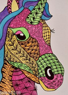 ACEO ORIGINAL ART Doodle Fantasy Horse Unicorn Animal Pony LaRusc