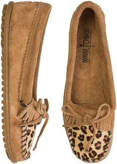 Minnetonka Leopard Kilty Moccasins