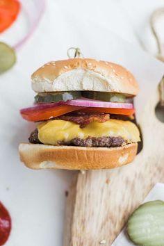Classic Cheeseburger Recipe on Brioche with Lettuce Tomato and Onions - Chef Billy Parisi Bacon Hot Dogs, American Cheese, Carnitas, Recipe Collection, Onions, Lettuce, Hamburger, Sandwiches, Brioche