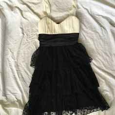 Polka Dot Tulle Formal Dress Absolutely adorable for semi formal events, or even prom if you're not the long gown type!  The top is slightly padded and the straps are very comfortable. The big tie in the back hides the small rip in the tulle that is shown in the last photo. Trixxi Dresses Mini