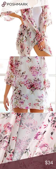 clearance Sweet Angel Kimono Gorgeous kimonolovely design very feminine and delicate wear it with jeans, shorts, dresses , bikini cover up perfect summer colorsI bought one for me and I love it ☮️go a size upit runs small thanks  Jackets & Coats