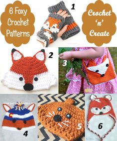 6 free fox crochet patterns, cute, sweet designs for you you to enjoy. #crochet