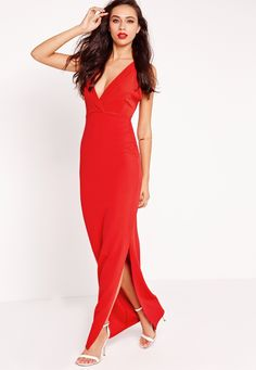 Missguided - Plunge Cross Back Maxi Dress Red