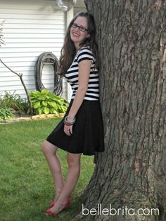 one of my many tops with black and white stripes
