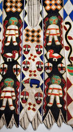 Africa | Detail from a beadwork tunic from the Yoruba people of Nigeria | Glass beads, cowrie shells and linen lining | 2nd half of the 20th century