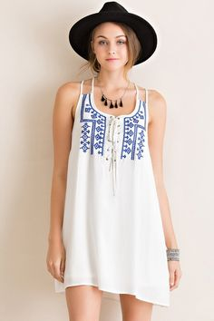 Lace Up Front Dress Blue Embroidery - Longhorn Fashions