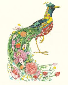 Animal art greetings cards, prints and coasters by award winning Artist Daniel Mackie. The DM Collection is inspired by Japanese prints and Art deco Bird Of Paradise Tattoo, Bird Illustration, Watercolor Illustration, Watercolor Paintings, Watercolor Bird, Watercolors, Flor Magnolia, Lion Print, Flamingo Print