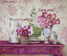 Garden Memory Canvas Art - Stefania Ferri x Decoupage Vintage, Vintage Diy, Vintage Paper, Posters Vintage, Vintage Prints, Art Floral, Decoupage Printables, Picture Postcards, Vintage Pictures