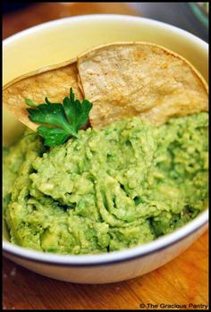 Clean Eating Chips and Guacamole...this dip is awesome! Can always add tomatos, onions, etc.
