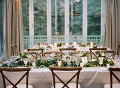 LauraMurraycaptured everything I love about classic winter weddings when she sent these snowy Vail nuptials our way. Candlelight? Check. Flowy ribbons? Check. Ethereal 'maids inJenny Yoo? Check. Not to mention, that ring... drooling over here.Calluna Eventstied every bit up pretty with