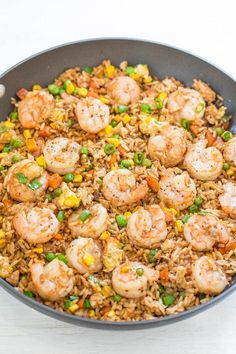Easy Better-Than-Takeout Shrimp Fried Rice Easy Better-Than-Takeout Shrimp Fried Rice - One-skillet, ready in 20 minutes, and you'll never takeout again! Homemade tastes WAY BETTER! Tons more flavor, not greasy, and loaded with tender shrimp! Seafood Recipes, Dinner Recipes, Cooking Recipes, Shrimp And Rice Recipes, Copycat Recipes, Asian Recipes, Healthy Recipes, Ethnic Recipes, Vegetarian Recipes