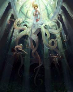 Ascension. Octopus Bride Fantasy Steampunk art print.