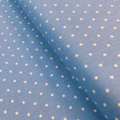 Tissu mini stars 25x160cm bleu avec étoiles ivoire