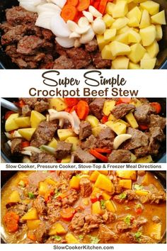 Deliciously easy, kid approved beef stew recipe in a slow cooker! With slow cooker, stove-top, instant pot, Beef Stew Crockpot Easy, Crock Pot Soup, Slow Cooker Beef, Slow Cooker Recipes, Beef Recipes, Soup Recipes, Slow Cooker Kitchen, Freezer Meals, Stove