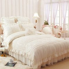 Korean Beautiful White Ruffle Bedding Set (wish it was a different color but white is pretty too)