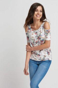 Květované tričko s odhalenými rameny