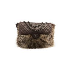 Pre-owned Chanel Brown Quilted Lambskin Leather & Faux Fur Shoulder... (85,625 DOP) ❤ liked on Polyvore featuring bags, handbags, shoulder bags, flap bag, shoulder handbags, chanel purse, shoulder bag purse and chanel