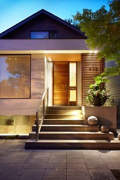 I post Interior Design & Exterior Architecture. Design Exterior, Modern Exterior, Interior Exterior, Patio Steps, Transitional Living Rooms, Transitional House, Transitional Lighting, Interior Design Portfolios, Living Room Styles