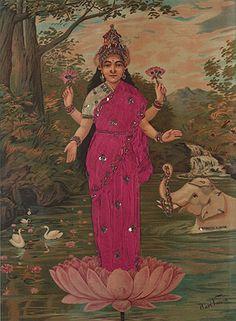 Raja Ravi Varma - Lakshmi   Dressed oleograph on paper   Tastemaker: Cyrus Oshidar   The Story