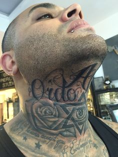 Hardcore 👊🏻 did this under the chin #chicano #script today and @d_bigz786 even sat extra long for me to touch up his existing neck tattoos as well 😐💪🏻 #chintattoo #script #tattoo #tattoos #ink #inked #boyswithink #boyswithtattoos