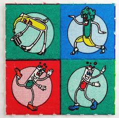Dancing Test Tubes LSD Blotter Paper, 1985-1989, via vintage blotter acid blogspot