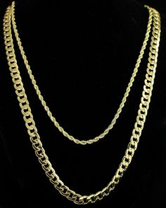 "$14.99 - 2Pc Set 24"" 30"" Cuban/Rope Chains 14K Gold Plated Hip Hop Necklaces #ebay #Fashion"