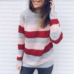 Riou Women Round Neck Striped Knitted Sweater Jumper Pullover T-Shirt Tops  Women s Cowl Neck Sweaters Solid Color Knit Cardigan Button Jumpers Sweater  Coats 7122b8514