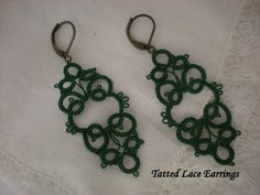 Emerald Green Tatted Lace Earrings by designedkeepsakes on Etsy, $18.00