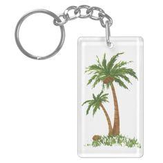 Palm Tree Key Chain Rectangle Acrylic Keychains