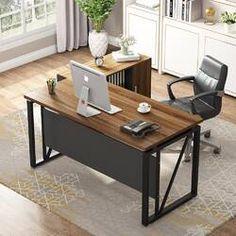 Beachcrest Home Cyra L Shaped Desk & Reviews | Wayfair Modern Office Desk, Office Computer Desk, Pc Desk, Desk Set, Home Office Desks, Table Desk, Open Office, Modern L Shaped Desk, L Shaped Executive Desk