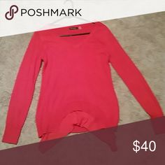 Very adorable red long sleeve shirt!!! Candy apple red with flowy design in front Tops Blouses