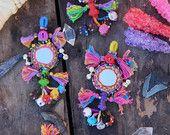 Small Swag Multi-Colored Mirrored, Bells Camel Pom Pom, Tassel, Decoration, Boho Gypsy Fashion Design, Decorating Supply, Keychain, 1 Piece