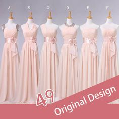 Bridesmaid Dresses Adult V-neck Empire Droped Foor Length Chiffon Long Dress Pink Color Custom Size Zipper Or Bandage $45.99
