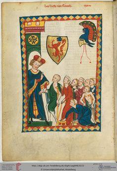 Hesso von Reinach (1234-1275/76), auf der Miniatur als vornehmer Adliger dargestellt, der Krüppel und Bettler in sein Haus einläßt, stammte aus dem Schweizer Kanton Aargau; seine Burg stand in der Nähe des heutigen Städtchens Reinach.