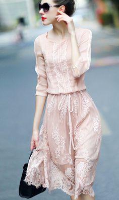 Feminine Blush Pink Princess Lacy Chiffon Dress.Rose Quartz Lace Dress