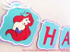 Ariel Little Mermaid Happy Birthday Banner  by CreativeCraftsLolly, $30.00