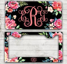 Classy Floral Front License Plate Personalized by ChicMonogram
