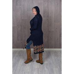 Hooded Bohemian Knitted Jacket Windy Day, Blanket Stitch, Snug, Hoods, Beanie, High Neck Dress, Bohemian, Warm, Sweaters