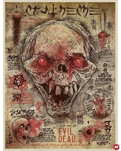 "Horror Movie Poster Art : ""Evil Dead"" by Godmachine Horror Icons, Horror Movie Posters, Movie Poster Art, Horror Films, Horror Art, Evil Dead Trilogy, Evil Dead Movies, Scary Movies, Bruce Campbell Evil Dead"
