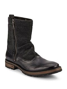 John Varvatos Leather Mid-Calf Boots - Black - Size