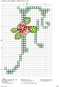 Alfabeto verde con rose: F
