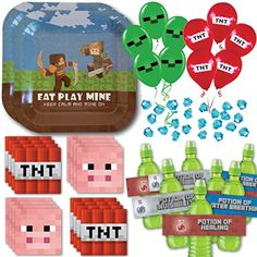 This newly released Minecraft Party Supply Pack is for 16 Guests! We've revamped our previously best-selling pack to accommodate more party guests at a more affordable price. Best of all, get free two day shipping with Amazon Prime! It's a no-brainer and includes BONUS Minecraft party printables as well!