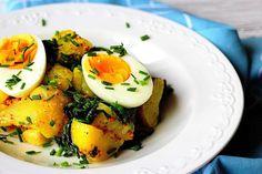 Bramborový salát s vejci a špenátem Avocado Egg, Salads, Eggs, Cooking, Breakfast, Recipes, Food, Treats, Inspiration