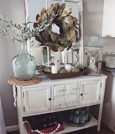 A room will look beautiful if the entrance has been beautifully decorated and one of the ideas is rustic farmhouse entryway decoration. Home decoration can be a fun activity because you will be thr… Decor, Interior, Dining Room Decor, Living Decor, Buffet Decor, Entryway Decor, Home Decor, Farmhouse Dining, Room Decor