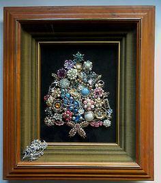 Vintage Rhinestone Jewelry Christmas Tree Folk Art Framed Under Glass OOAK