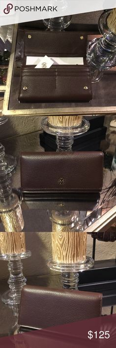 Tory Burch wallet Mercer envelope continental wallet. Dark walnut..New with tag Tory Burch Bags Wallets