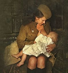 Female Russian soldier breastfeeding her child. Old Photos, Vintage Photos, Mom Milk, Photocollage, Female Soldier, Military Women, Military Photos, Red Army, People Of The World